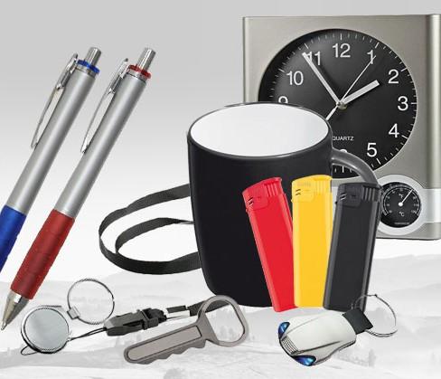 Gadżety reklamowe: zegar, kubek, breloki, długopisy, zapalniczki